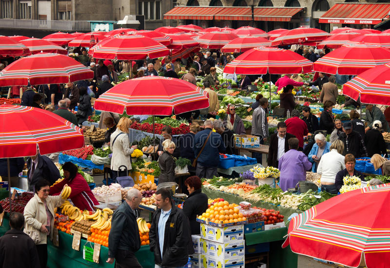 Download Fruit Market In Dolac, Zagreb Editorial Stock Image - Image of square, famous: 19438394