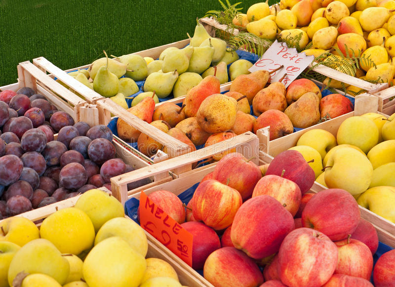 Fruit at the market in Italy stock photo