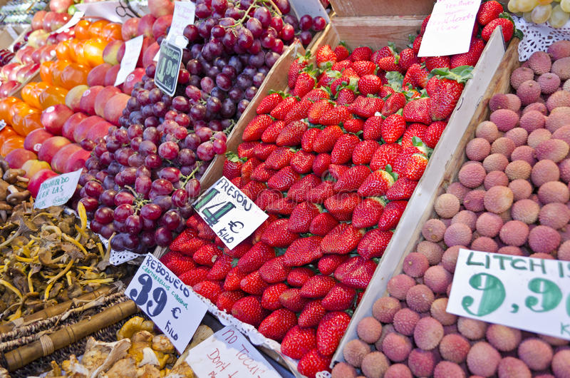 Fruit market in Madrid - Spain royalty free stock images