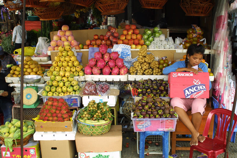 Fruit Market In Phnom Penh, Cambodia Editorial Photo