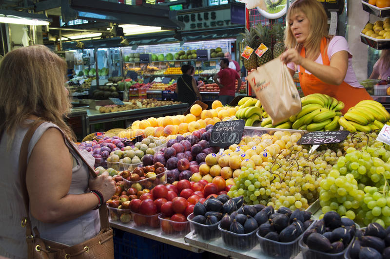Fruit market in Valencia - Spain. Mercado Central: the covered market in Valencia - Spain. It's one of Europe's largest covered market places, with a total area royalty free stock photo