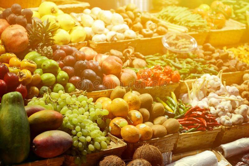 Fruit market with various colorful fresh fruits and vegetables - Market series royalty free stock photography