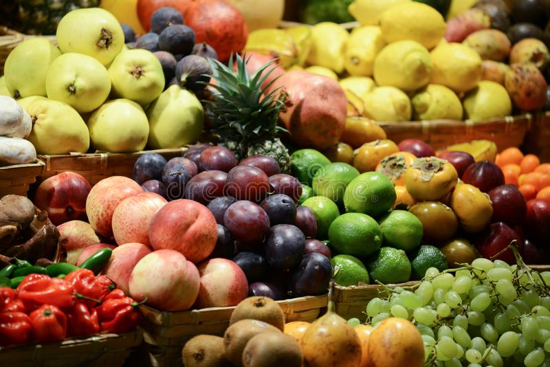 Fruit market with various colorful fresh fruits and vegetables - Market series royalty free stock photo