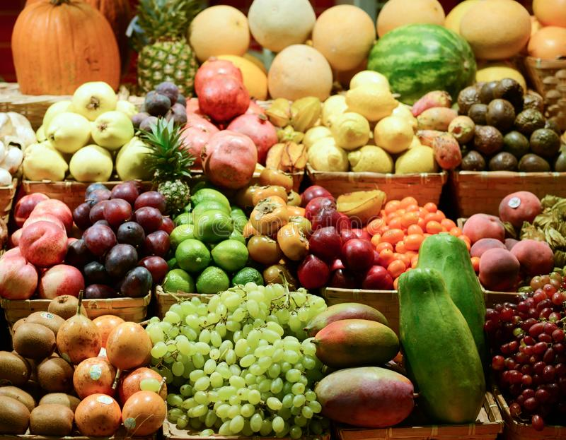 Fruit market with various colorful fresh fruits and vegetables - Market series royalty free stock images