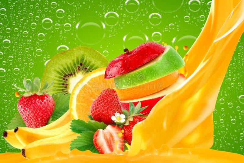 Fruit mix. Splatter fruit juice with green background stock image
