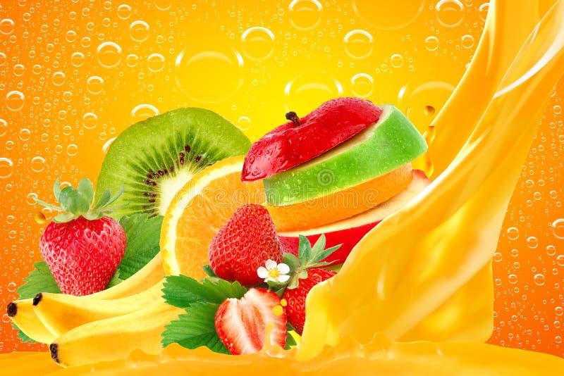 Fruit mix. On yellow background royalty free stock image