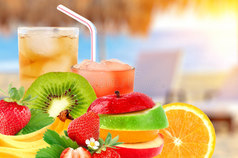 Fruit mix and cocktail royalty free stock photos