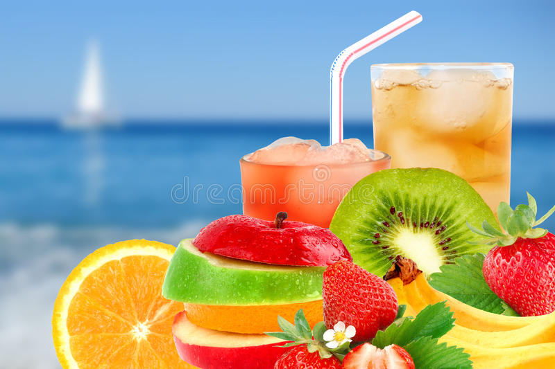 Fruit mix and cocktail royalty free stock photo