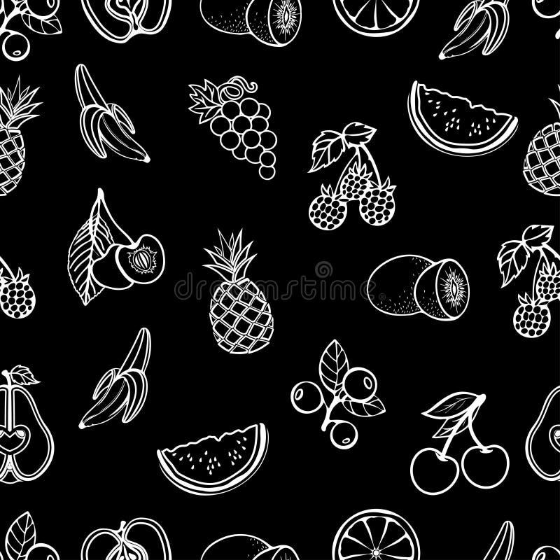 Fruit naadloos patroon, vectorachtergrond Witte contourvruchten en bessen op een zwarte zwart-wit achtergrond, stock illustratie