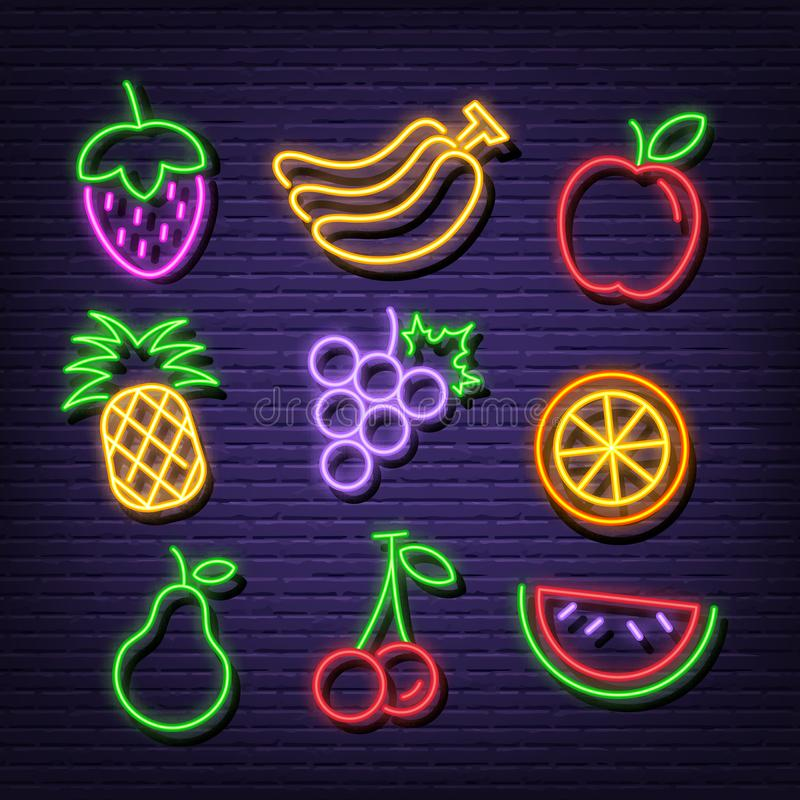 Fruit neon icons. Vector neon glow on dark background stock illustration