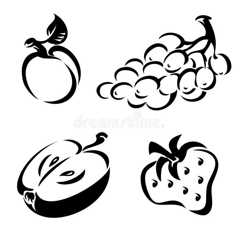 Fruit Noir Et Blanc Photos stock