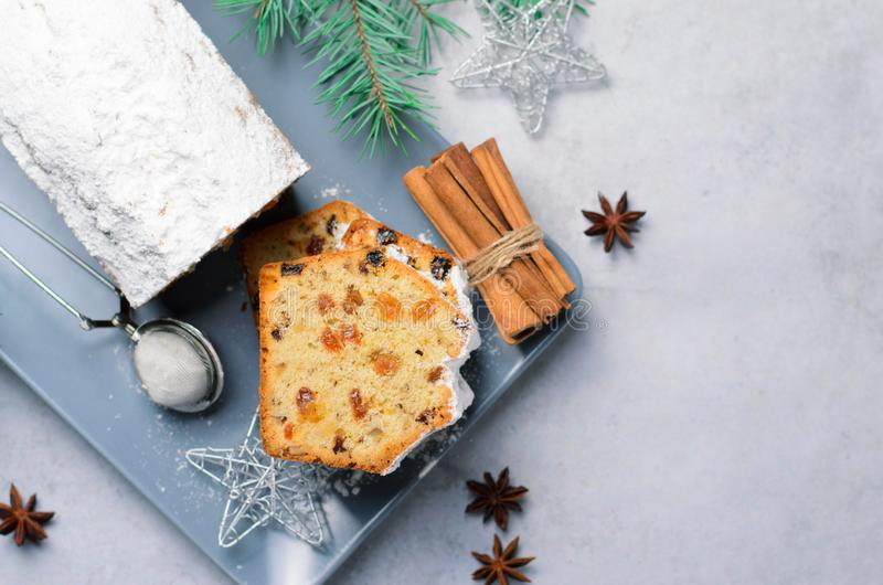 Fruit and Nut Loaf Cake Dusted with Icing Sugar, Christmas and Winter Holidays Treat stock photos