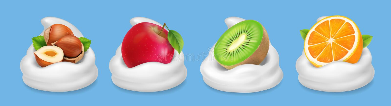 Fruit nuts in yogurt. Hazelnuts, kiwifruit, red apple, orange realistic vector icon royalty free illustration