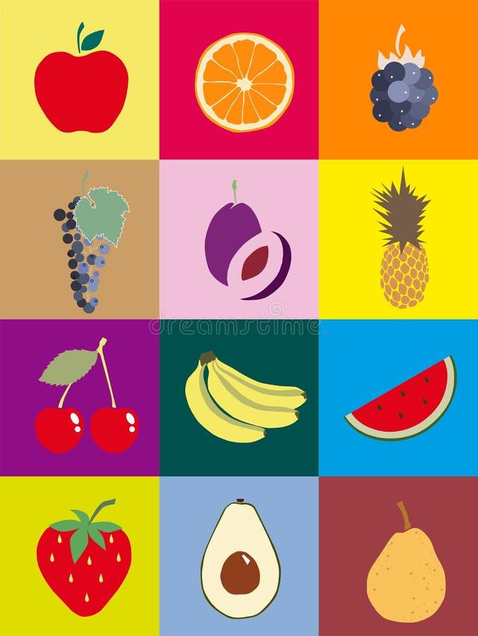 Fruit orange apple watermelon cherry pineapple grapes plum avocado banana royalty free stock image