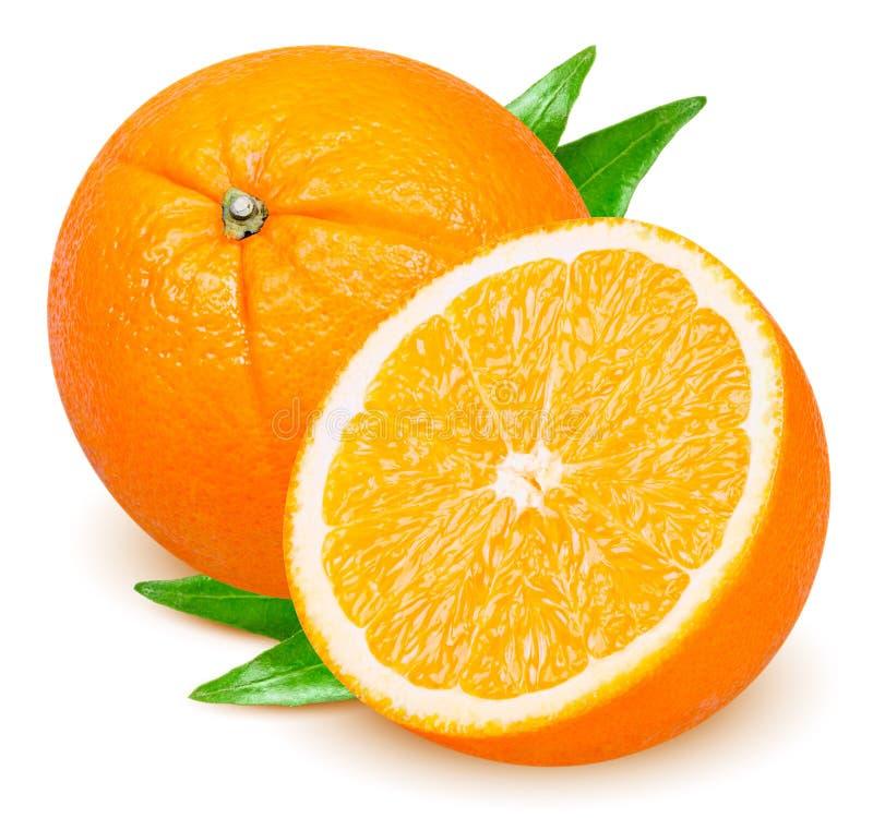 Fruit orange avec des feuilles d'isolement sur le blanc image libre de droits