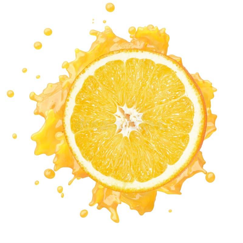 Fruit orange avec l'?claboussure de jus sur le fond blanc image libre de droits