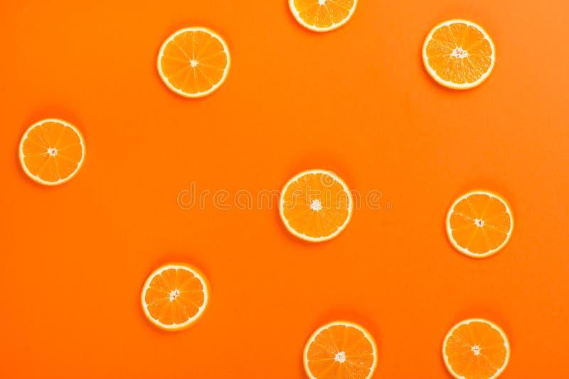 Fruit orange coupé, vue supérieure photos libres de droits