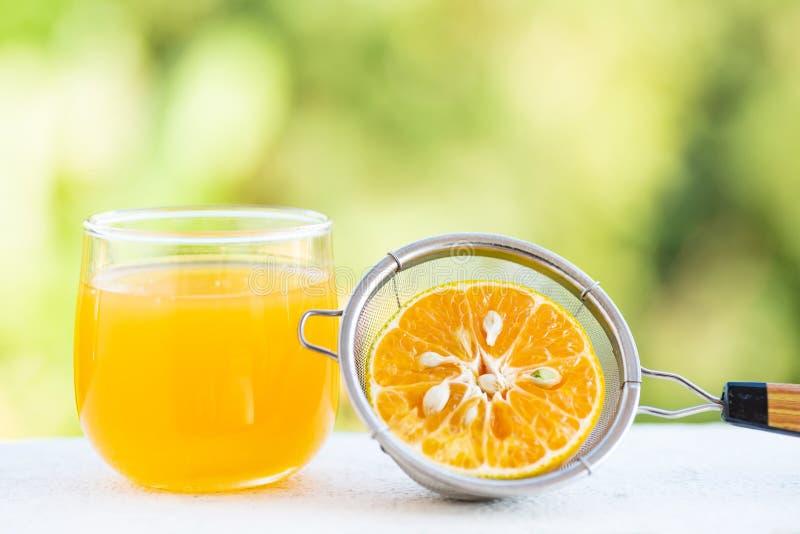 Fruit orange et jus de mandarine fraîche image stock
