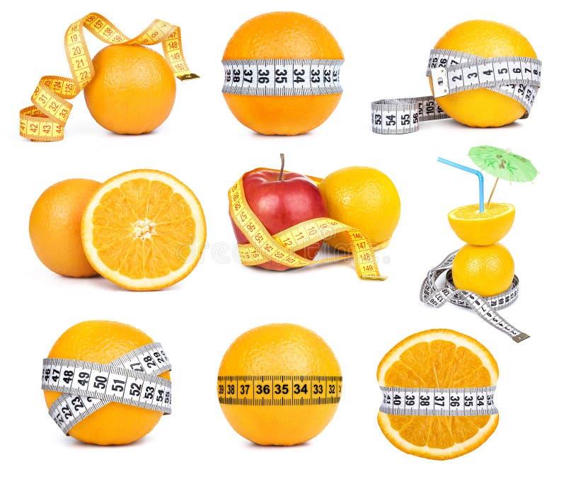 Fruit orange et ruban métrique image stock