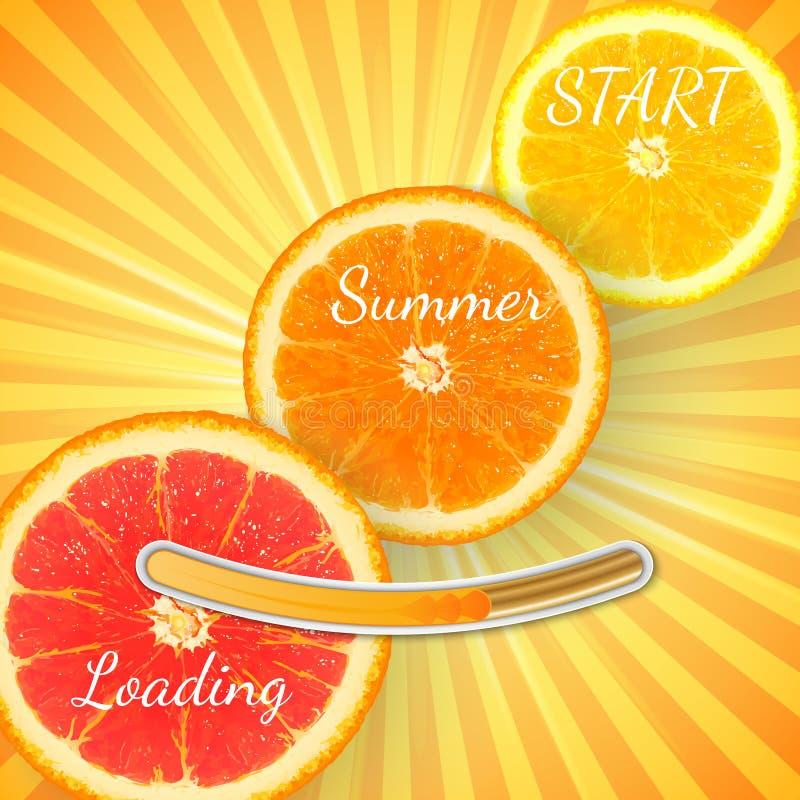 Fruit Orange. Summer loading bar orange background with sun rays stock illustration