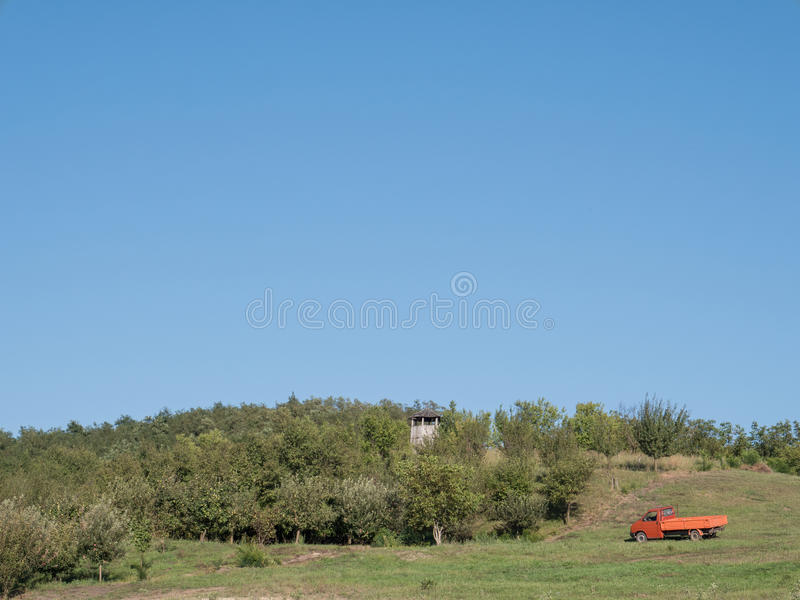 Fruit orchard under the sky. Photography of multiple apple and pear trees from an orchard. A pickup truck is positioned near to the trees as well as a watchtower royalty free stock photography