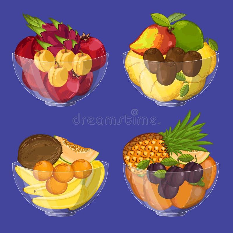 Fruit organique frais dans l'ensemble de bol en verre illustration libre de droits