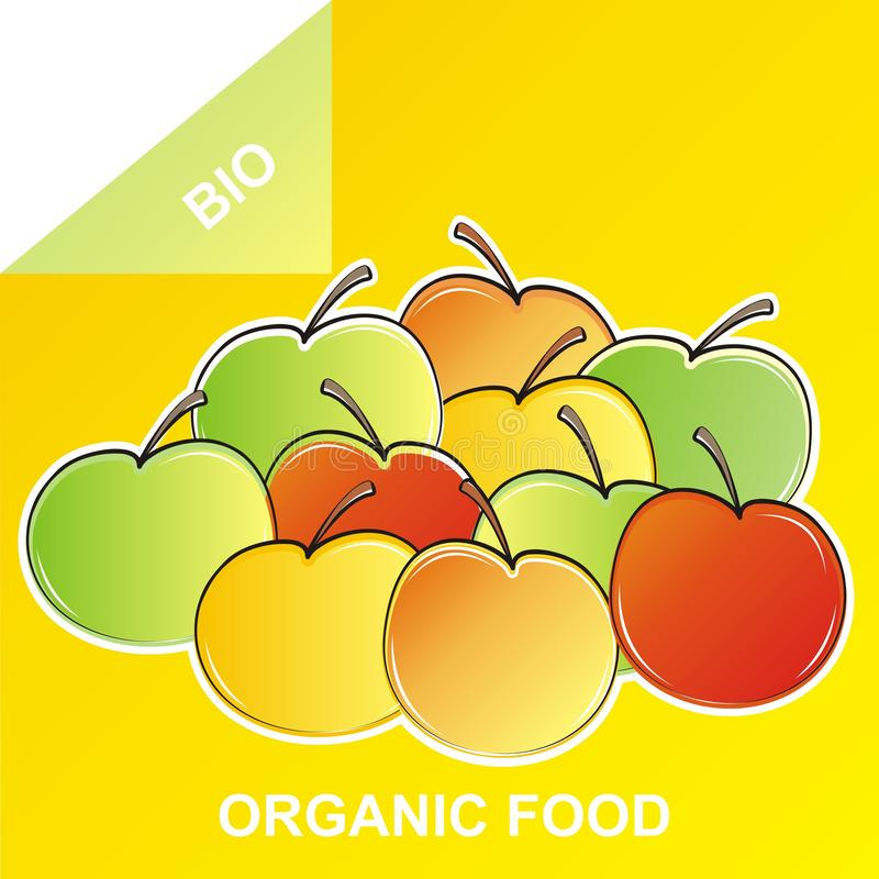 Fruit organique, pomme, aliment biologique illustration de vecteur
