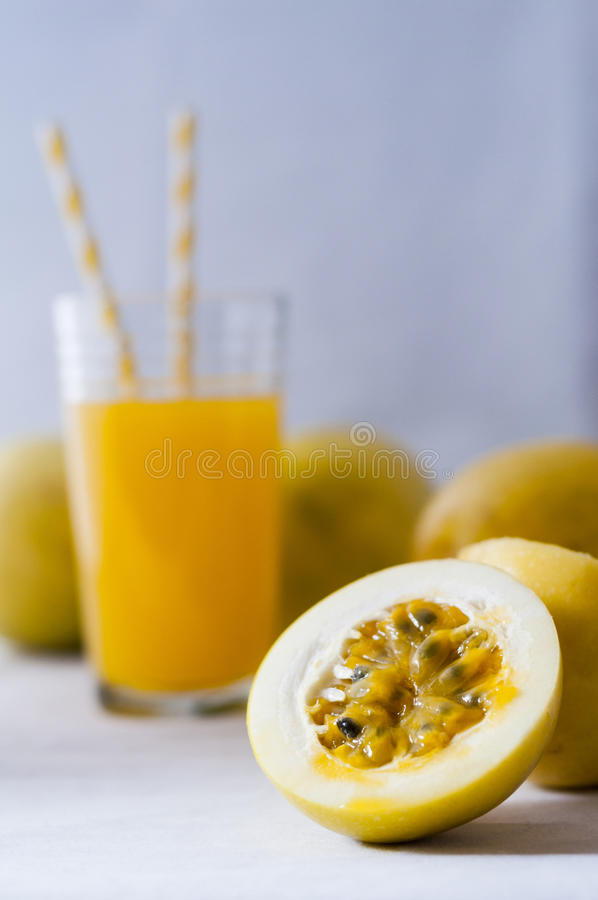 Fruit and passion fruit juice stock photography