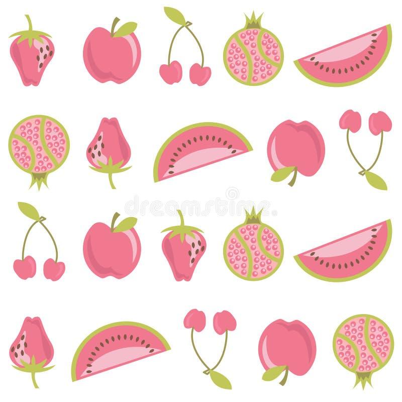 Fruit pattern. Decorative fruit pattern vector background royalty free illustration
