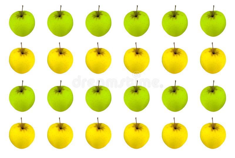 Fruit pattern apples number of bright juicy green yellow background white. Base royalty free stock images