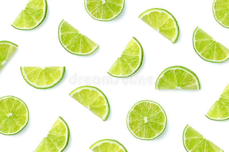 Fruit pattern of lime slices stock images