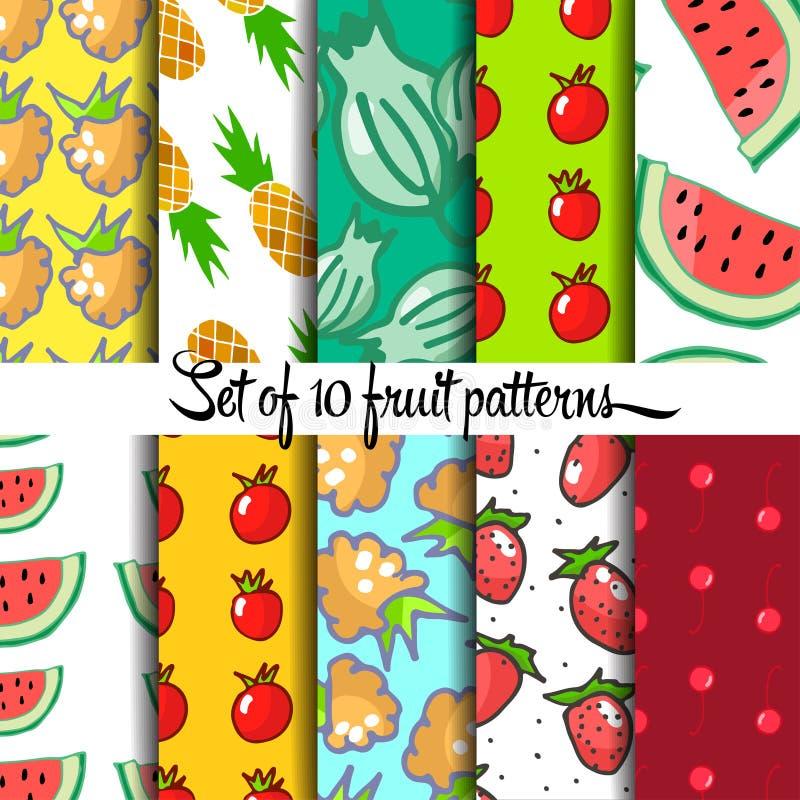 Fruit pattern. Set of fruit pattern, hand drown, vector eps 10 royalty free illustration