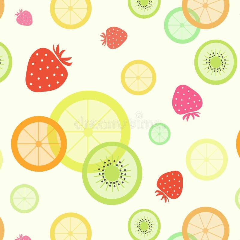 Fruit pattern. Strawberry orange lemon kiwi lime royalty free illustration