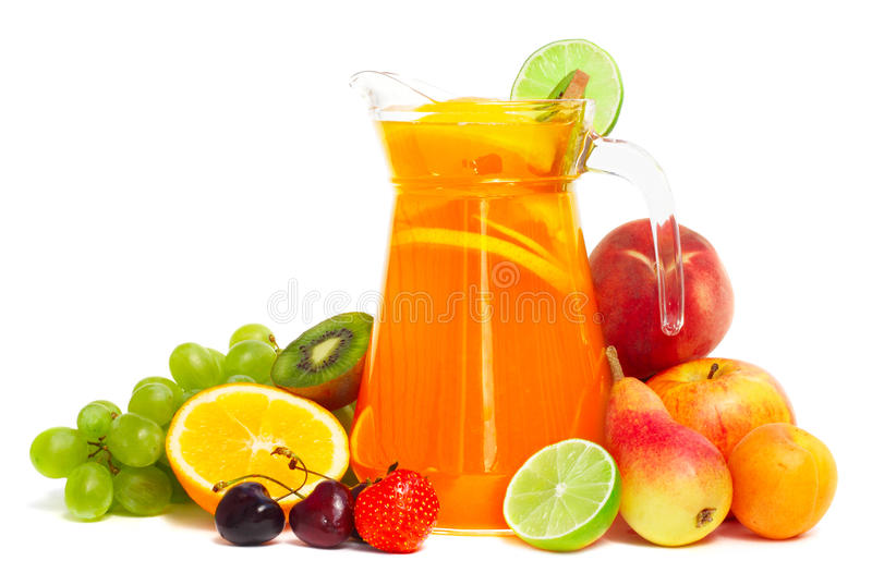 Fruit pile and juice in pitcher isolated on white stock images