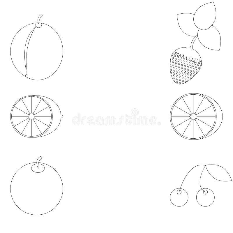 Fruit planimétrique sous une coloration illustration stock