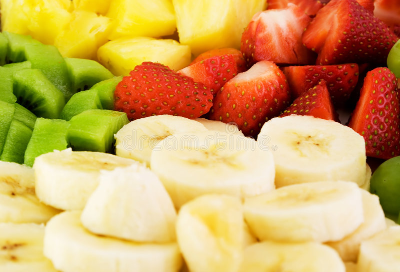 Fruit Plate. With bananas,strawberries,kiwis and pineapples