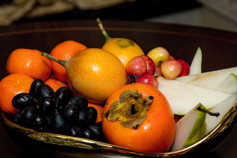 Fruit plate, cherries, Apple, pear stock photos