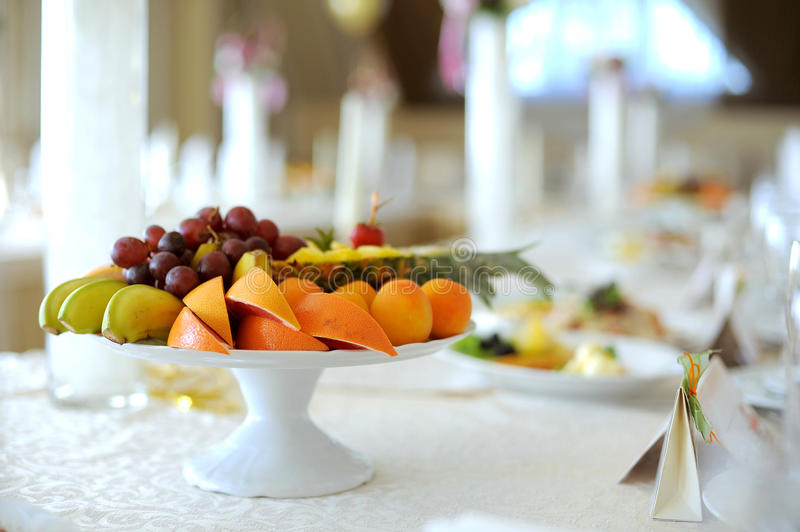 Fruit Plate. On festive table royalty free stock images