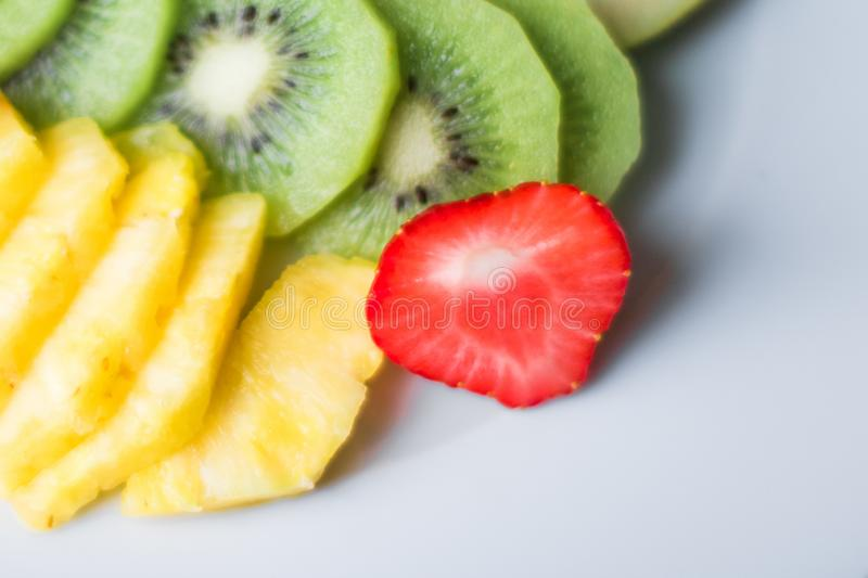 fruit plate served - fresh fruits and healthy eating styled concept royalty free stock photos