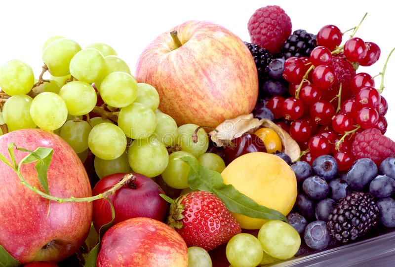 Fruit platter. Tray with a fruit platter close-up in studio royalty free stock images