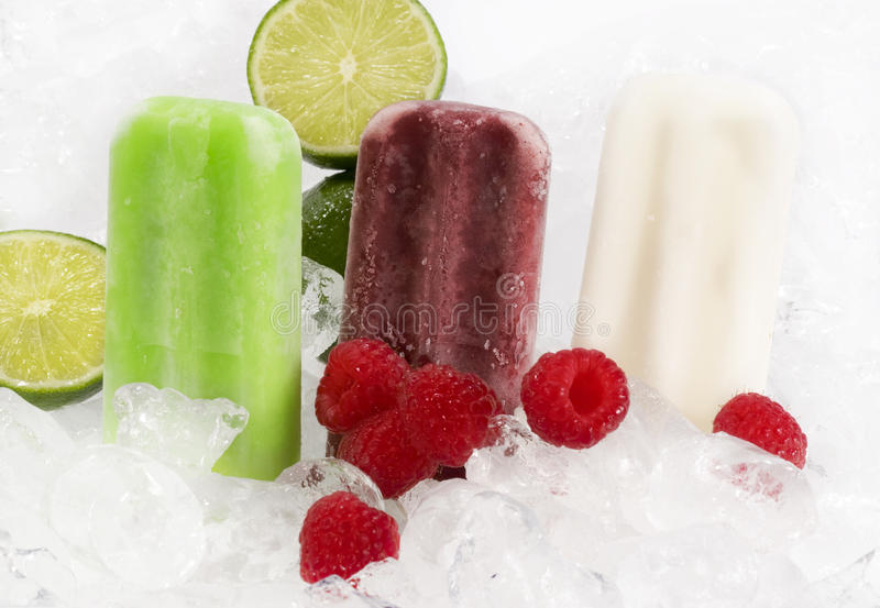 Fruit Popcicles on Ice stock image