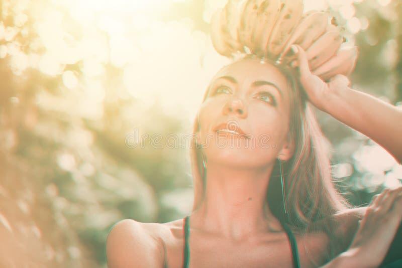 Fruit queen young beautiful suntan caucasian woman stock photos
