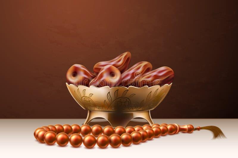 Fruit r?aliste Ramadan de dates de perles de chapelet de vecteur illustration libre de droits