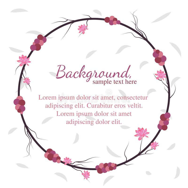 Fruit, Root, Flower and Circle Background Template. Circle framed root background template with blooming flower. For quotes, explanation or even seasonal stock illustration