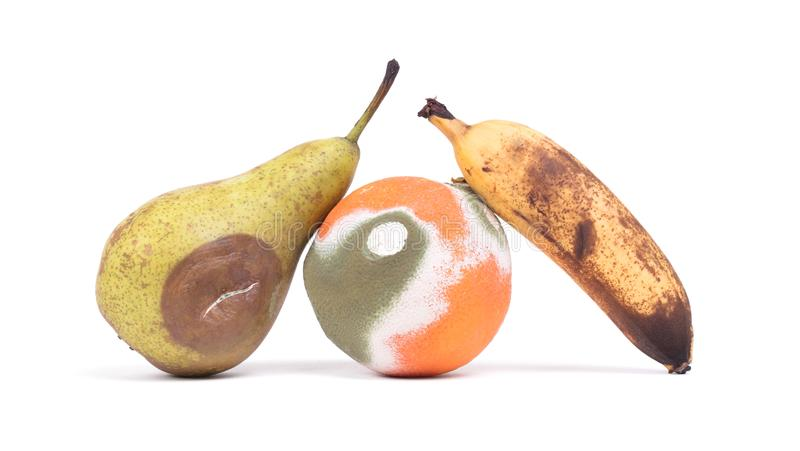 Fruit rotting isolated royalty free stock photos
