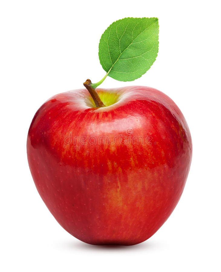Fruit rouge de pomme avec la feuille photo libre de droits