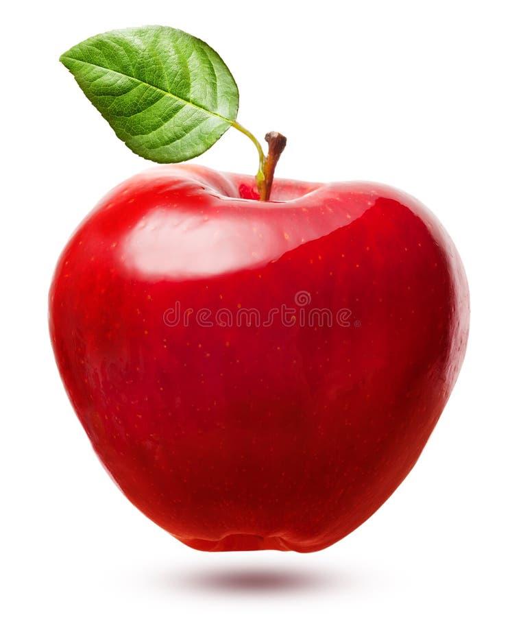 Fruit rouge de pomme avec la feuille images stock