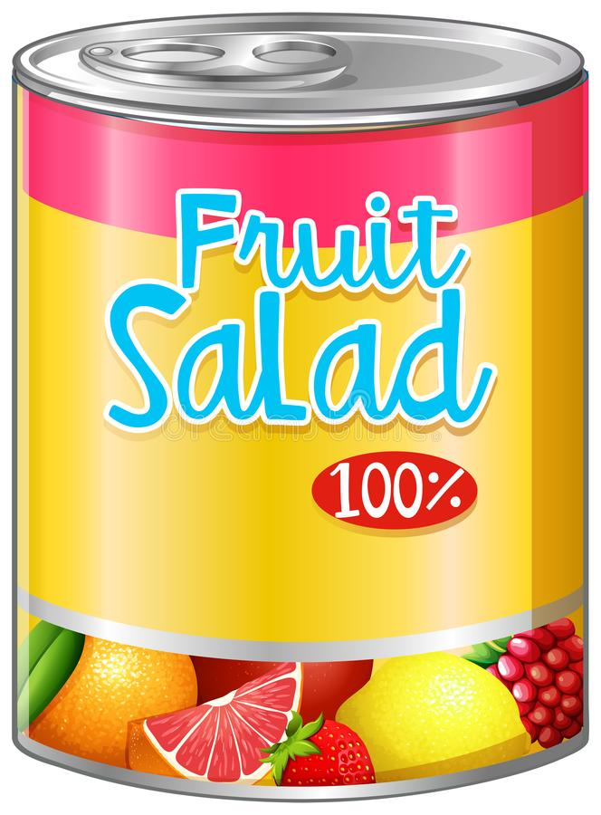 Fruit salad in aluminum can stock illustration