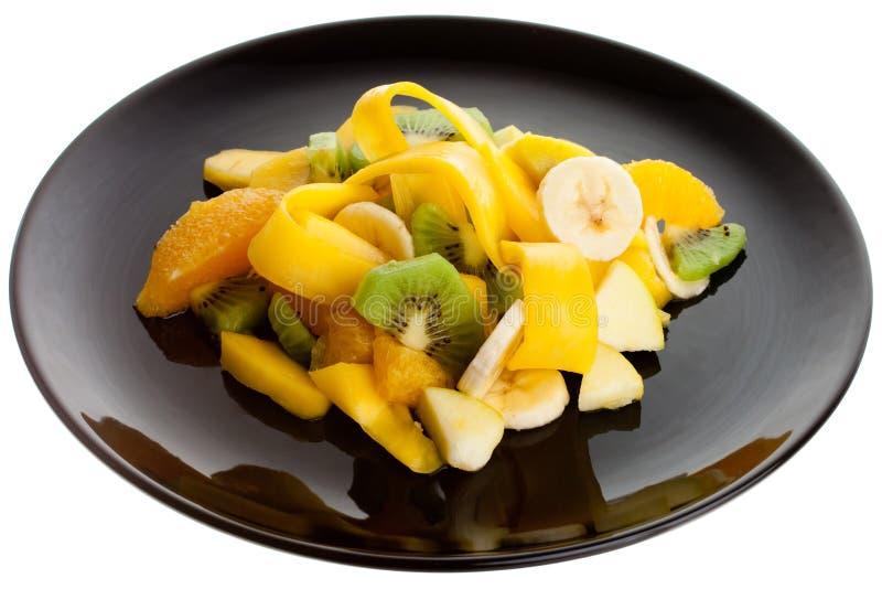 Fruit Salad on a Black Plate stock image