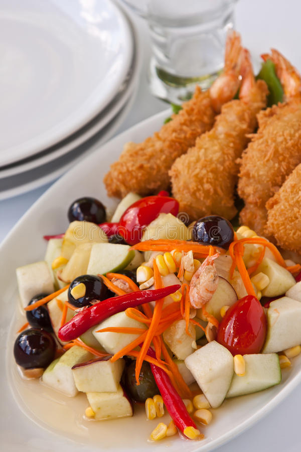 Fruit Salad With Deep Fried Shrimp Stock Photo